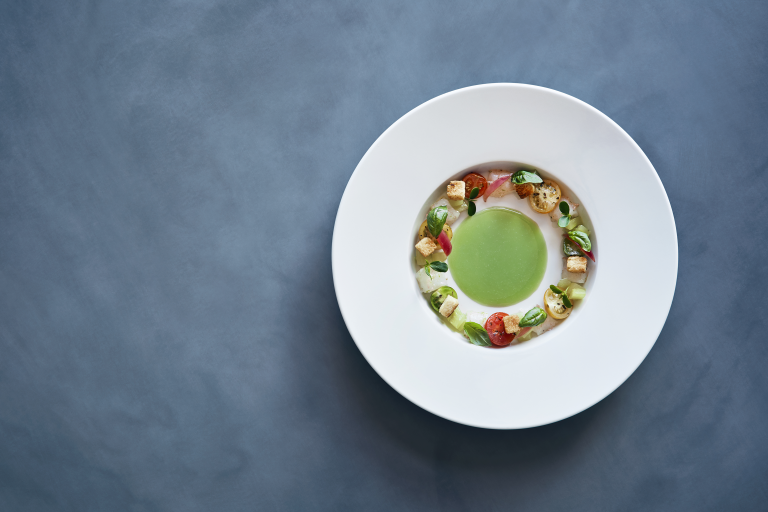A dish from La Torre Panzanella with Green Tomatoes and Raw Marinated Scampi High Res