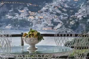 Lemons vase in the terrace of a bedroom at Hotel Il San Pietro di Positano,Relais & Chateaux on the Amalfi coast