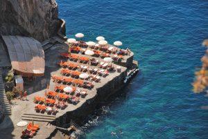 Aerial view of the beach solarium