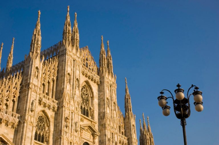 The marble facade of the dome Santa Maria Nascente in Milan - Italy