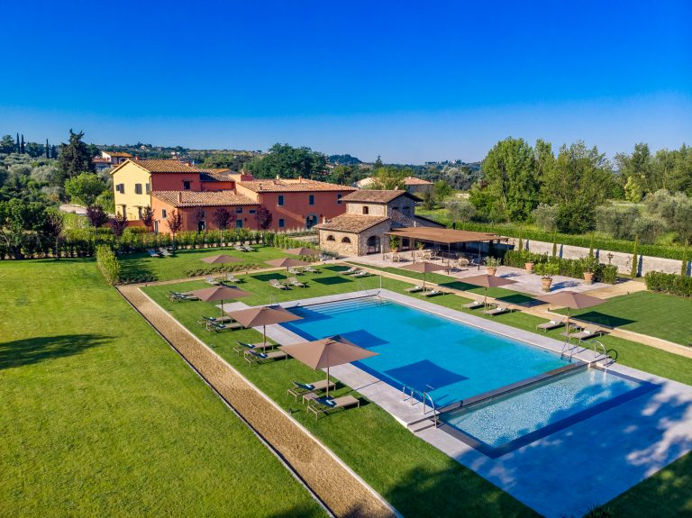 Villa La Massa Pool area, L'Oliveto and Villa Hombert - lateral view from above