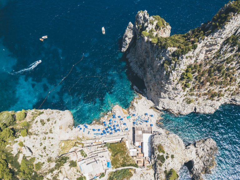Birds eye view of rock formations at Capri.
