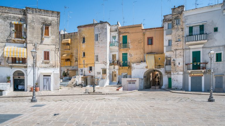 Scenic sight in Bari old town, Apulia, southern Italy.