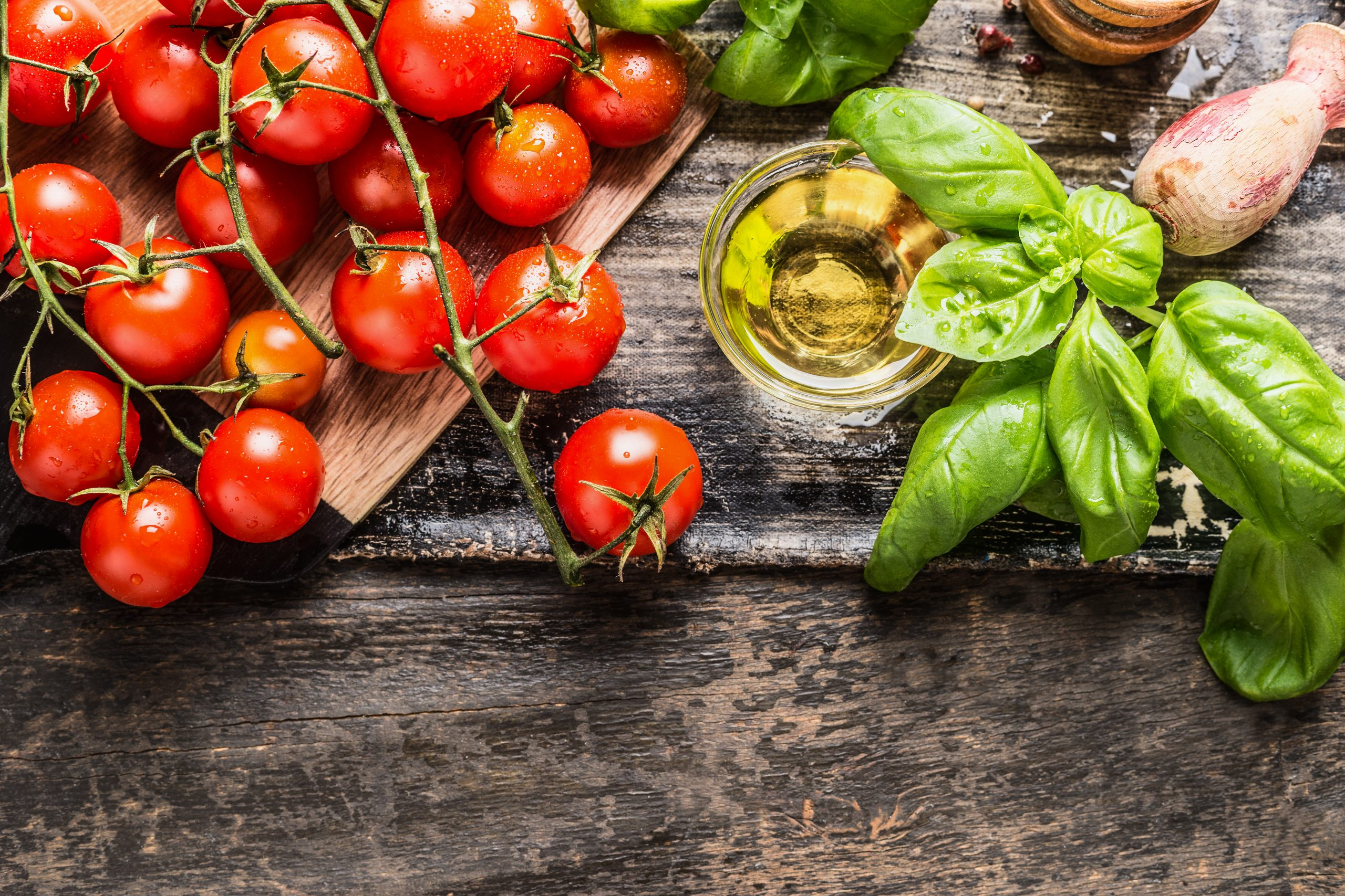 Cherry,Tomatoes,,Basil,And,Olive,Oil,On,Wooden,Background,,Top
